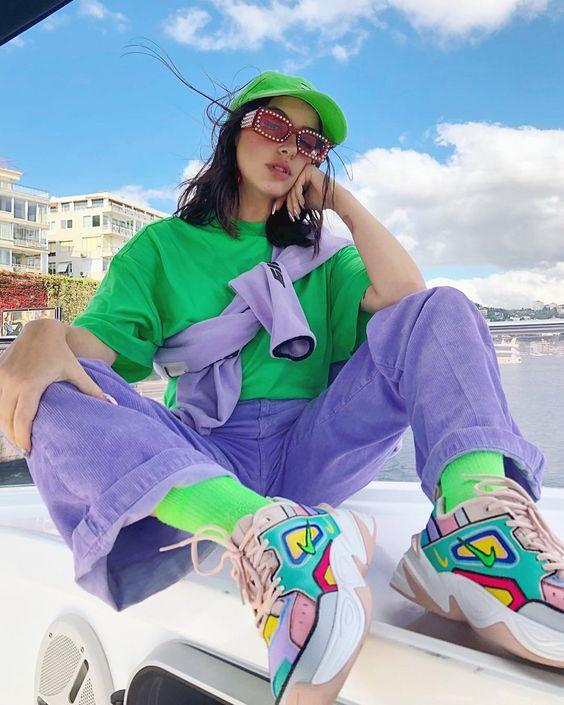 Windy weather announced / #M2Ktekno customised by @grandminoparis 💚💗💙💜 . #hypebeastkicks #girlsonmyfeet #highsnobietysneakers…