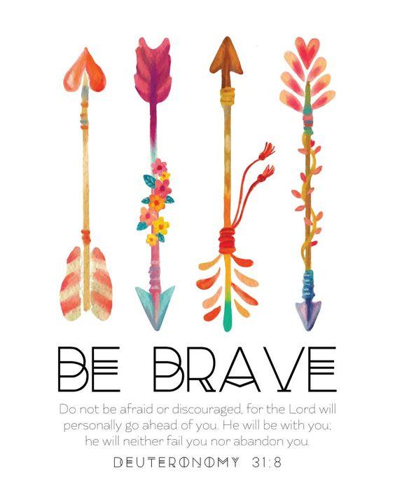 Be Brave - Deuteronomy 31:8 - Nursery Print