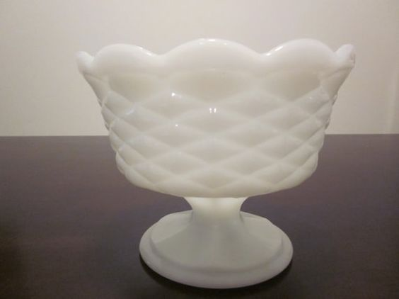 White Quilted and Scalloped Milk Glass Compote/Dish ...I have this with lid but can't find it yet online
