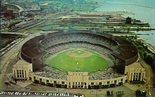 Cleveland Municipal Stadium by John Renfro, via Flickr; opened in 1931, my first visit was in 1988, closed in 1995, demolished in 1996.