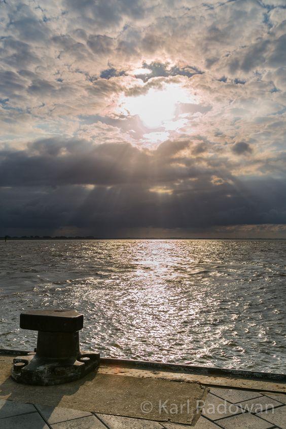 Bremerhaven Sonnenuntergang Bilckrichtung Nordsee