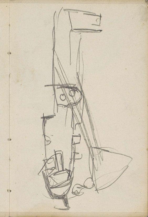 George Hendrik Breitner | Voorsteven van een schuit, George Hendrik Breitner, c. 1892 - 1923 | Voorsteven van een schuit. Pagina 85 uit een schetsboek met 45 bladen vervaardigd te Schwerin en Amsterdam.
