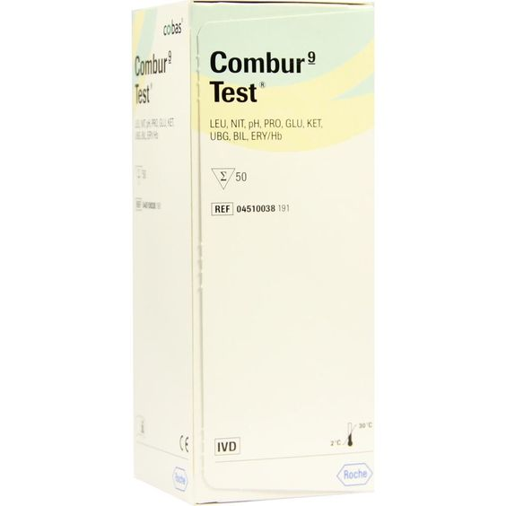 COMBUR 9 Test Teststreifen:   Packungsinhalt: 1 P Teststreifen PZN: 02422455 Hersteller: Roche Diagnostics Deutschland GmbH Preis: 31,11…