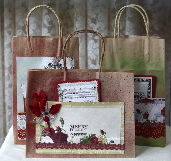 decorate gift bags with old christmas cards | On The 4th Day of Christmas Gift Bags & Card
