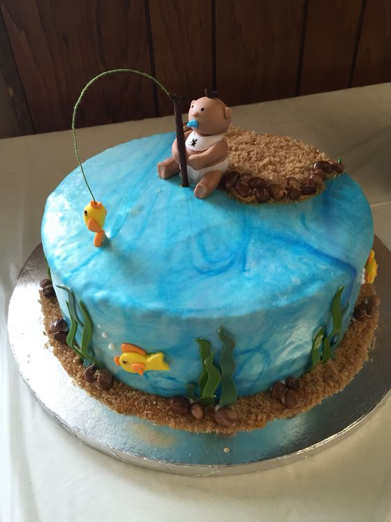 Baby shower cake gone fishing sweet creations for Fishing themed cakes