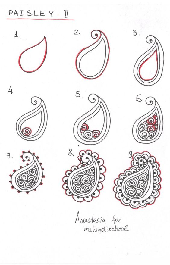 Simple Mehndi Tutorials : How to draw indian mehndi henna paisley small tutorial