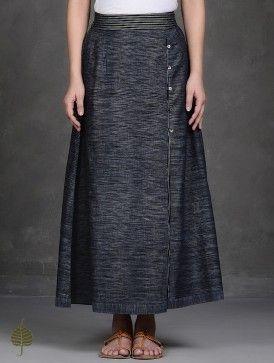 Black Elasticated Waist Pleated Handloom Cotton Skirt by Jaypore