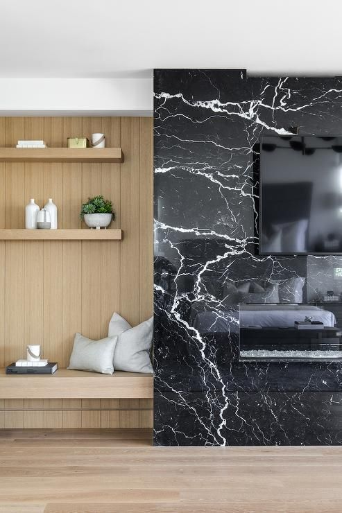 Polished Black Marble Fireplace Creates A Stunning Appeal With A Mounted Tv And Horizontal White Ro Marble Fireplace Surround Marble Fireplaces Marble Interior
