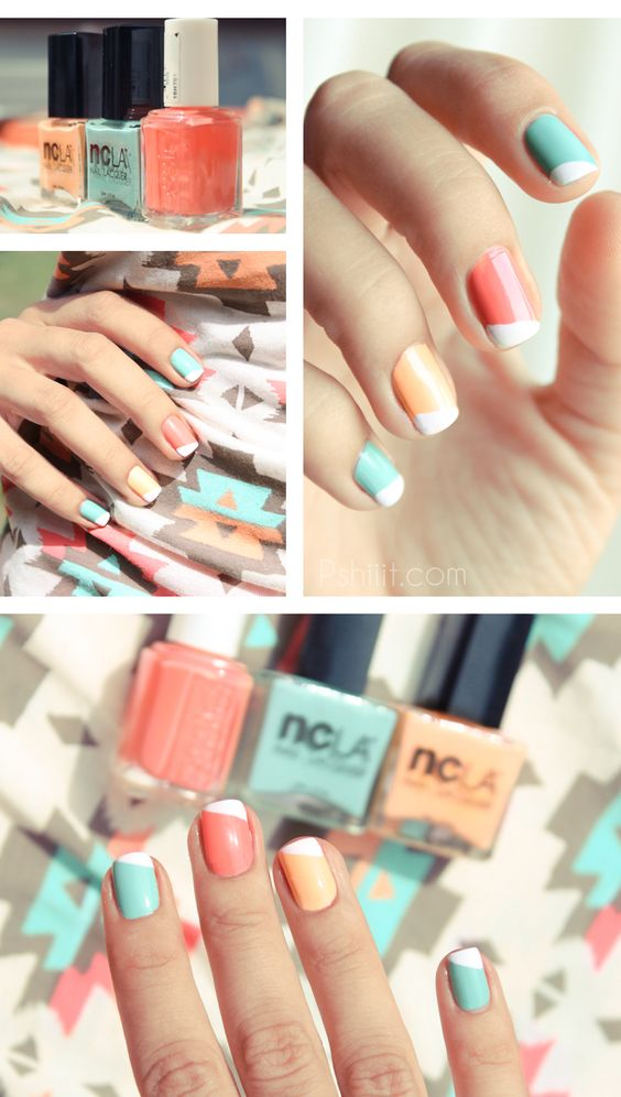 NCLA colors: Poolside Party, All Eyes on Me (orangey) and Santa Monica Shore Thing (turquoise). Essie Tare Deco... pastel french mani, LOVE THIS