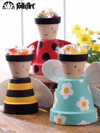 Plaid® FolkArt® Clay Pot Critters. I have way to many pots. Good way to use them up and have fun with the kids.: