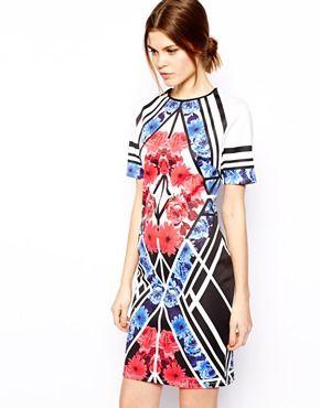 ASOS Blocked Floral Bodycon Dress