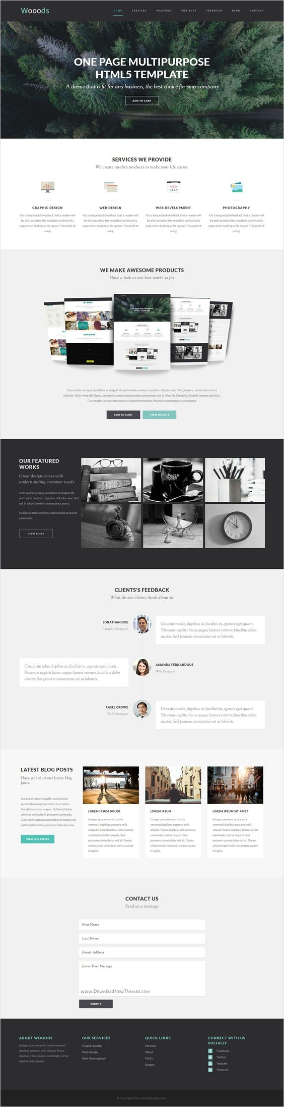 WOOODS - One Page Multipurpose HTML5 Template