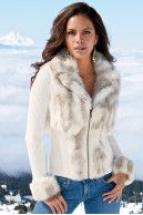 Snow bunny zip-front cardigan - I LOVE this sweater jacket!  Winter white is so sexy!  The faux fur makes it socially acceptable & helps keeps the price reasonable.