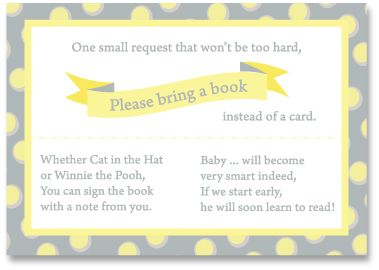 Baby Shower Poem Bring A Book Instead Of A Card
