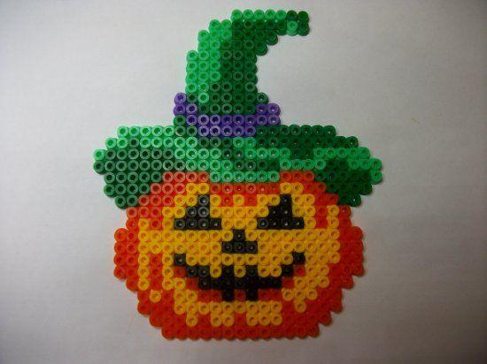 Perle hama citrouille 2 pour mon arbre d' Halloween