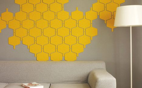 DIY felt wall tiles. Would be fun in a kids room.