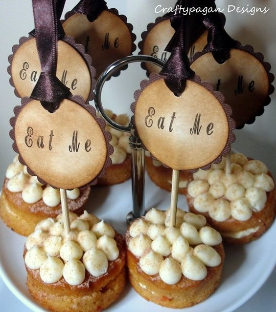Set of 50 Alice in Wonderland 'Eat Me' Food Picks made in My Signature Vintage Style. What could be more perfect than hosting a party and having these fabulous handmade picks adorning your yummy food! Certain to get many compliments and become a talking point!