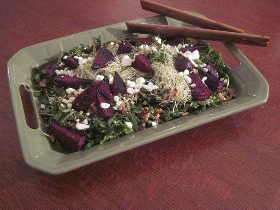 Roasted Beet and Arugula Salad with Mustard Balsamic Vinaigrette / freshouttathebasket.com