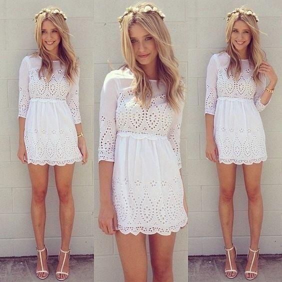 Vestido Branco de Laise - Vestidos | DMS Boutique:
