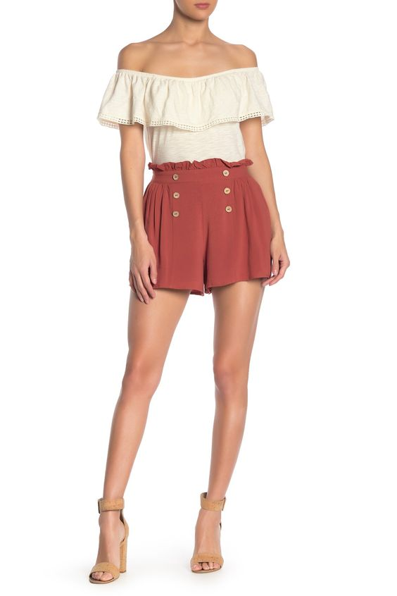 HYFVE - Front Button Ruffle Trim Mini Shorts. Free Shipping on orders over $100.