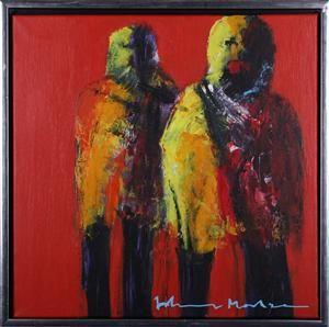 Køb og salg af moderne billedkunst og malerier - Figurkomposition af Johnny Madsen, olie på ...
