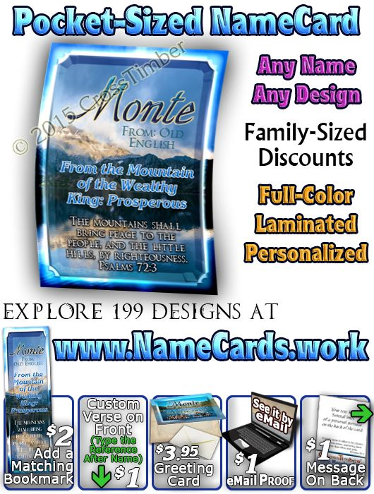 Name Meaning Cards with Scenic mountain landscape just $3.99 each!