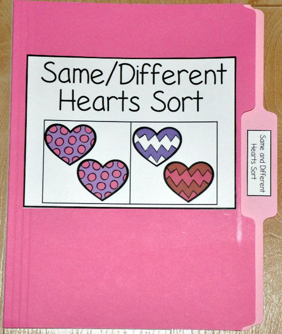 The Same and Different Heart Sort File Folder Game is a ...