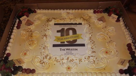 Custom 10 Year Anniversary logo cake! Corporate sheet cake for employees/associates. Westin Boston Waterfront June 2016