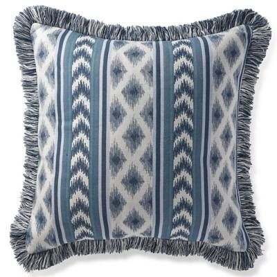 The Ensenada Stripe Indigo Outdoor Pillow features a stunning ikat-chevron pattern and is expertly finished with Denim and Natural fringe. Filled withquick drying polyester and made with 100% Sunbrella acrylic fabric, this plush pillow resists stains, locks in color and withstands sun, wind andrain.100% Sunbrella solution-dyed acrylic fabricFinished with Denim and Natural fringeResists fading, mold and mildewHigh-density polyester fillSpot clean with mild soap and…