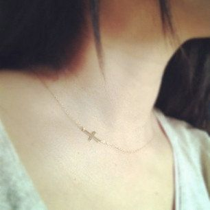 Tiny Sideways Cross Necklace  All 14k Gold Filled  by cocowagner, $20.50