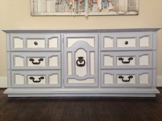 General Finishes antique white and seagull grey!