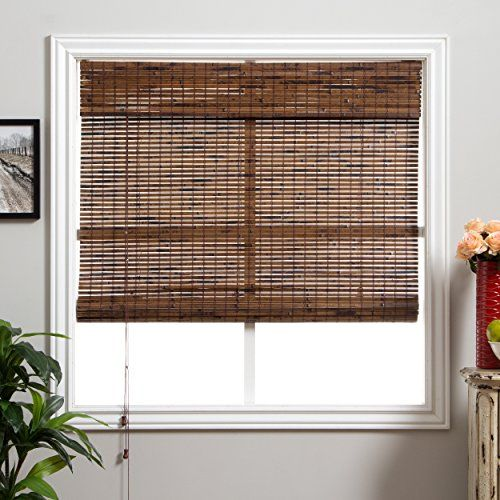 Single Piece Dark Brown Bamboo Shade 98 Inches Shade Window Blind Includes Hardware Stripe Pattern Sun Blo Bamboo Shades Shades Blinds Bamboo Roman Shades