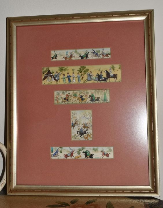 Persian Hand Painted Miniature Plaques Framed Middle Eastern Art Mini Paintings