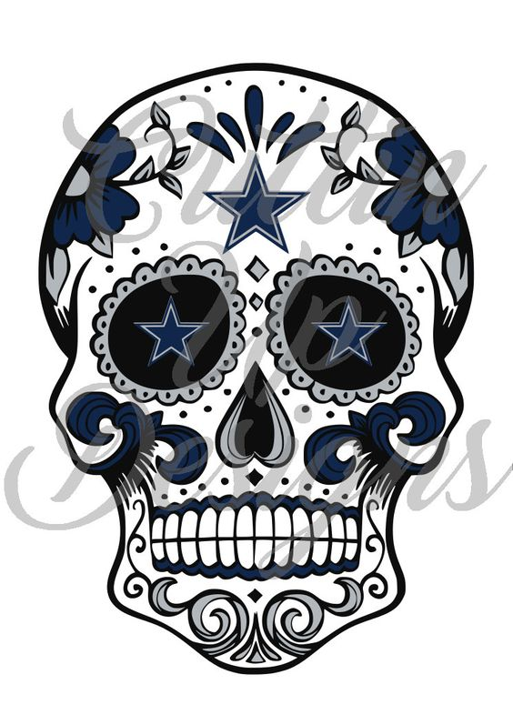 Dallas Cowboys Sugar Skull SVG for Cricut or Silhouette Cameo With Designer Edition. Cutting file. Great for shirts.  Easy cut and layer by CuttinUpGifts on Etsy