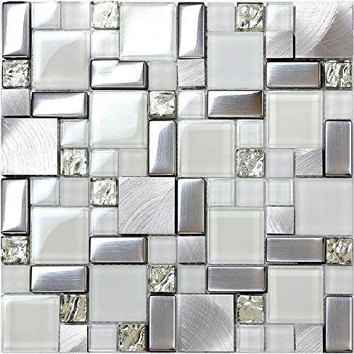 Hominter 11 Sheets Silver Coated Glass Backsplash Tile B Https Www Amazon Com Dp B07bplrj4 Glass Bathroom Glass Mosaic Tiles Glass Mosaic Tile Backsplash