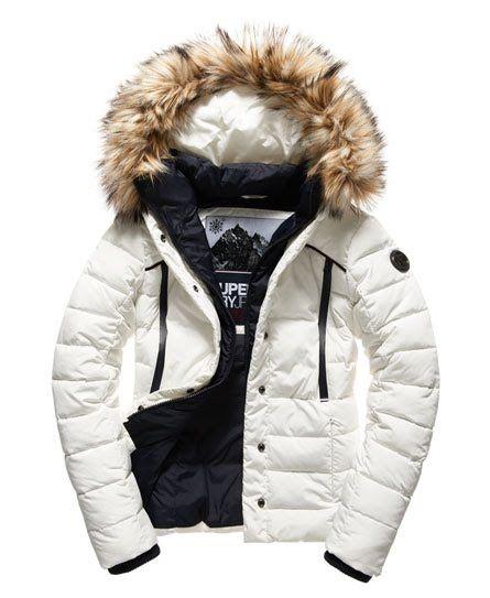 Superdry Glacier Biker Jacket White | Superdry women jacket