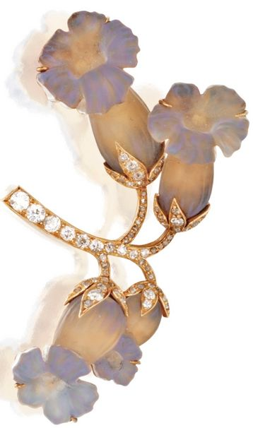 Gold, Glass and Diamond Brooch, René Lalique, Circa 1900. Designed as a spray of daffodils composed of carved bluish grey glass, the stems set with rose-cut diamonds, signed LALIQUE. ♦️More Like This At Fosterginger @ Pinterest♦️