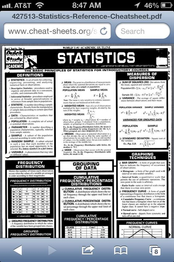 Statistics Reference Sheet All About