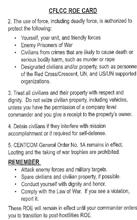 Military Rules Of Engagement Card  Google Search  History