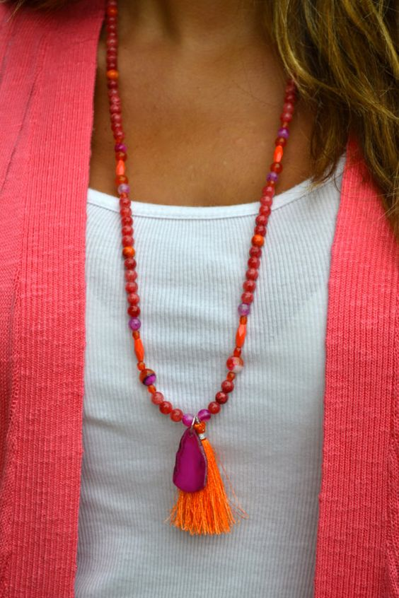 Fun in the Sun Long Beaded Necklace with by uniquebeadingbyme #tassel #necklace #beaded: