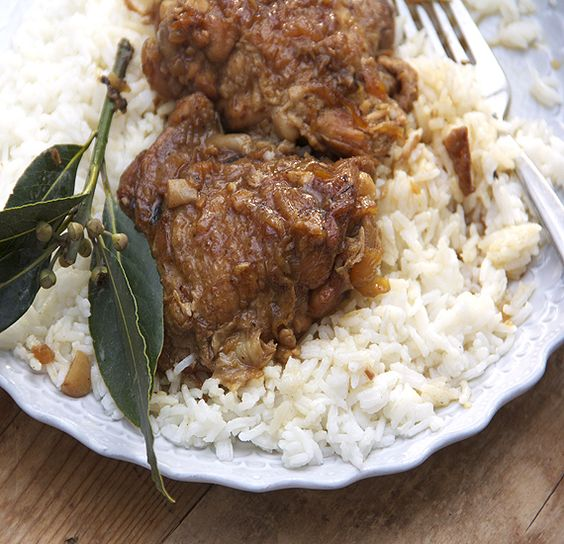 Chicken Adobo from the Phillipines - tender chicken in a tangy flavorful sauce - great served over rice.