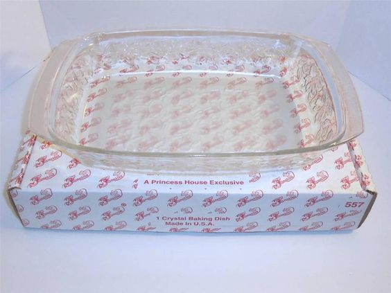 Princess house crystal baking dish 557 fantasia casserole for Princess housse