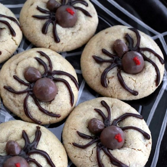 Halloween Spider Cookies Recipe Afternoon Tea, Desserts with unsalted butter, creamy peanut butter, granulated sugar, light brown sugar, large eggs, vanilla extract, all-purpose flour, baking soda, salt, malted milk ball, chocolate, icing, icing