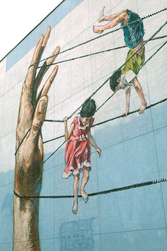 Close-up of street art by Ernest Zacharevic at the Street Art Festival in Vilnius, Lithuania: