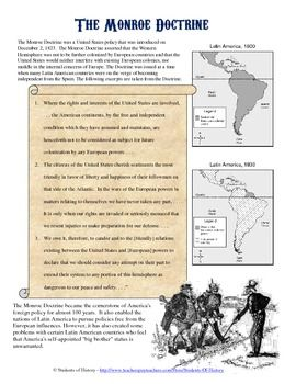Monroe Doctrine Primary Source Analysis | Primary Sources, Foreign ...