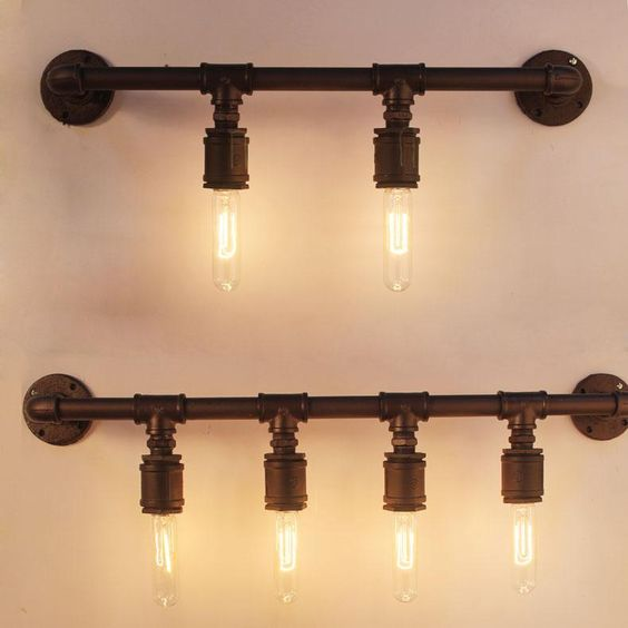[ Firewood ] industrial pipe wall lights Wall Iron Loft Cafe Retro study creative four wall ...