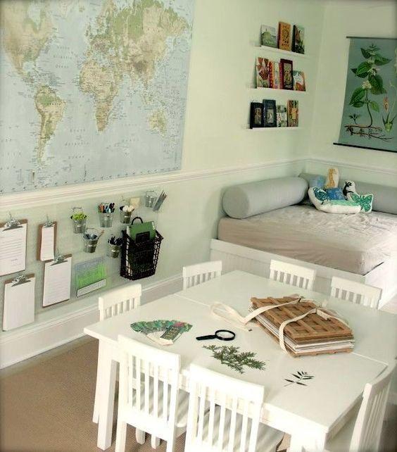 Kinderzimmer Schulkind ecksofa weltkarte organisationswand