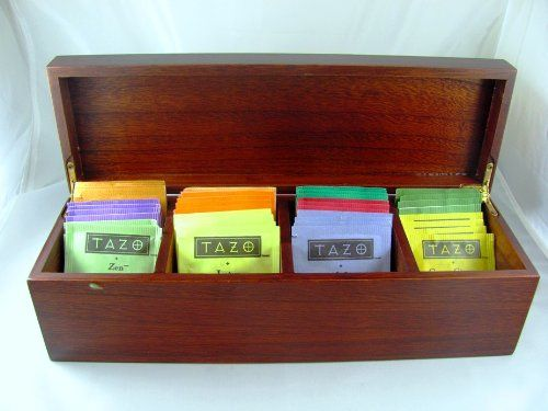 Fine Exotic Wood Tea Box Sampler with 44 TAZO Teabags in 11 Flavors , Hinged Paulownia Hardwood Tea Chest (Made of solid w...: Tazo Teabags, Gourmet Tea Gifts, Hardwood Tea, 44 Tazo, Gourmet Gifts, Box Sampler, 11 Flavors, Companion Gifts, Paulownia Hardwood