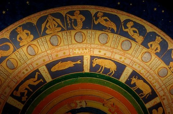 Lunar mansion, lunar phases, zodiac signs, planets