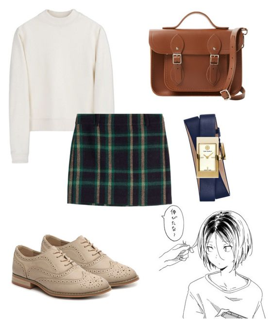 """Anime School Girl"" by kamileo ❤ liked on Polyvore featuring Acne Studios, Polo Ralph Lauren, The Cambridge Satchel Company and Tory Burch"